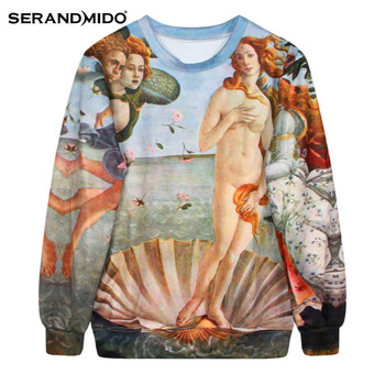 Fashion Spring & Autumn women marilyn 3d sweatshirt long sleeves O-neck print T shirt streetwear sweatshirt