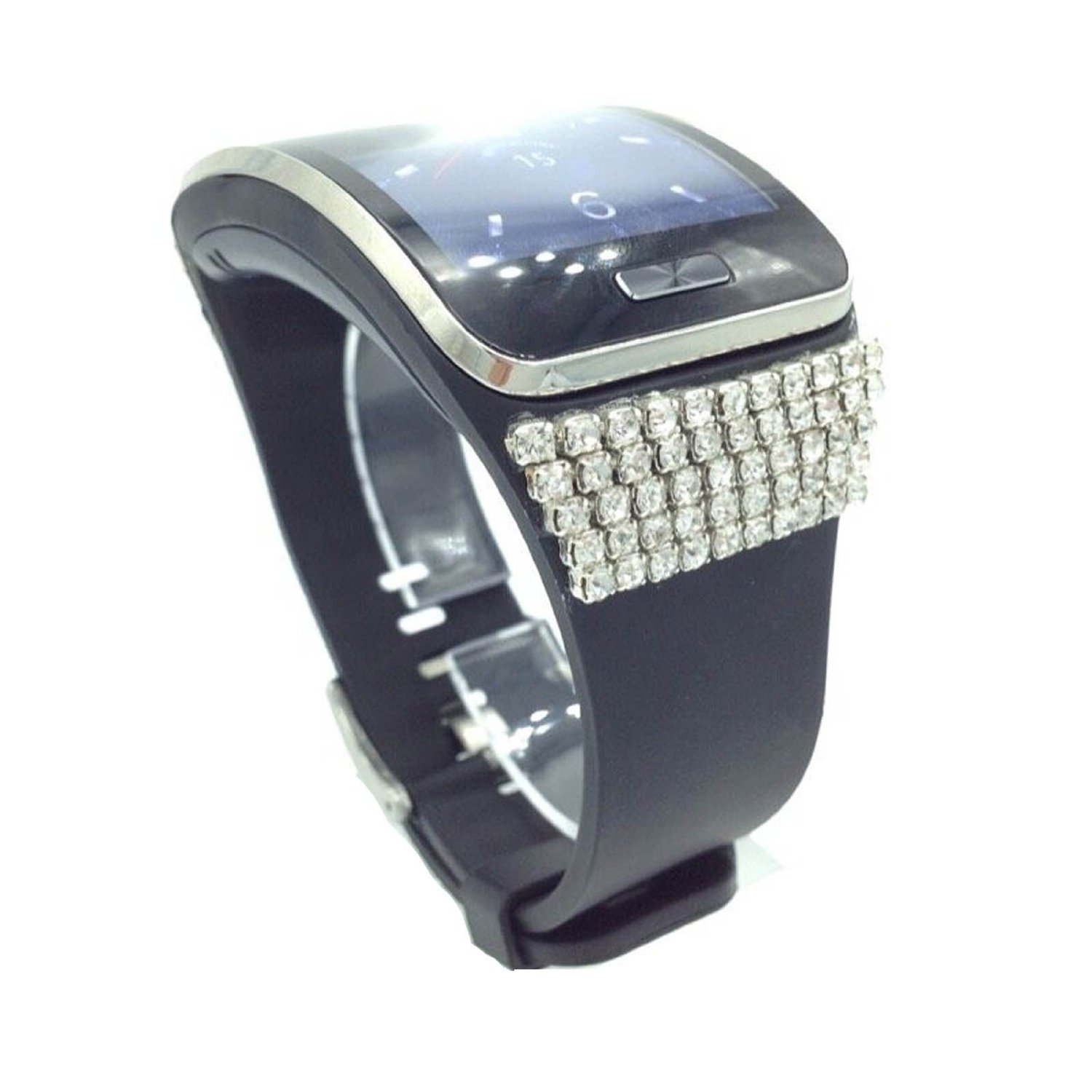 Bling Crystal Wrist Straps Wrist Bands for Samsung Gear S Smartwatch Smart Watch (Black)