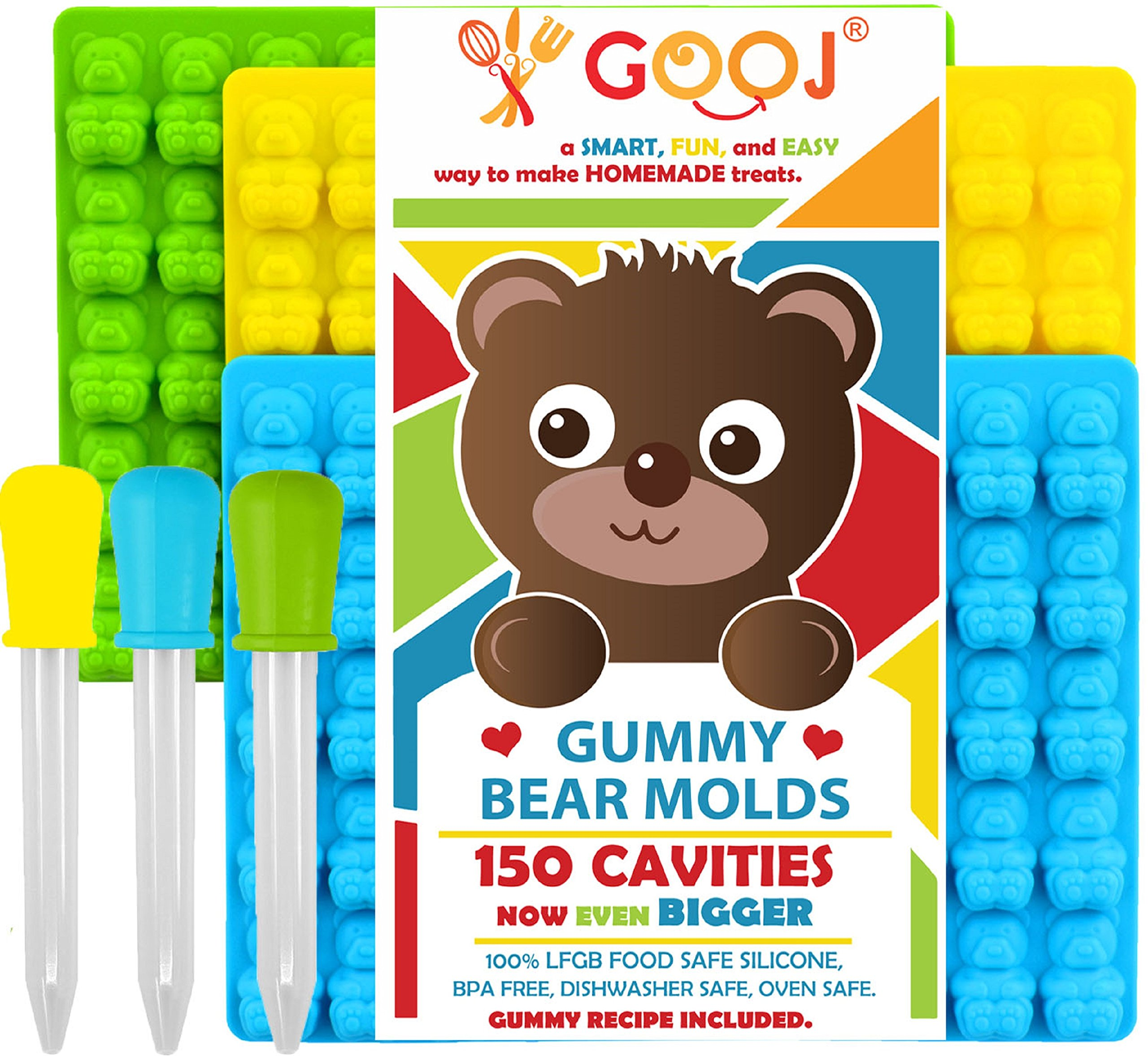 New Even Bigger Gummy Bear Molds Silicone 3 Pack + 3 Droppers - LFGB, FDA Gummy Bears molds, non BPA Candy Molds - Gummy candy size even bigger than the Store-Bought Gummy Bear.