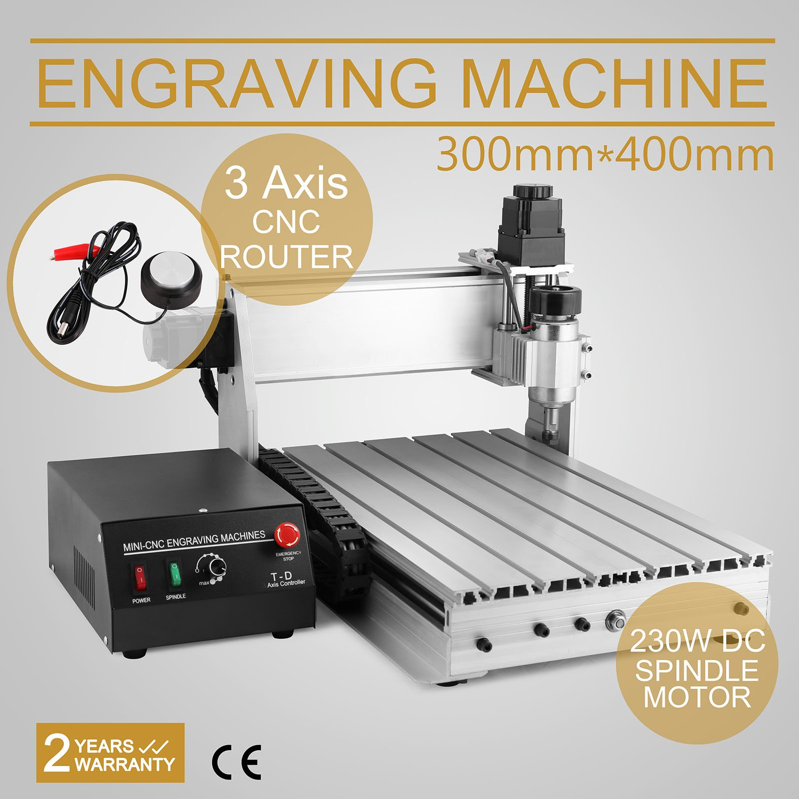 CNCShop CNC Router CNC Engraver Engraving Machine Cutting Machine 3040T-DQ 3th Axis Carving Tools Artwork Milling Woodworking