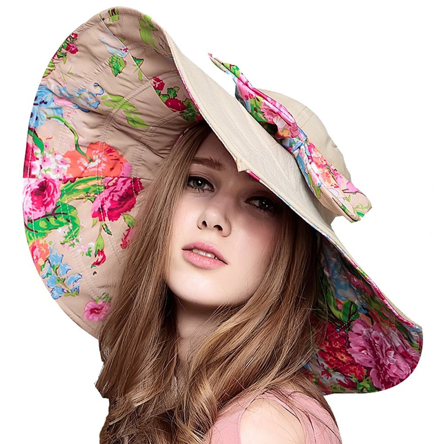 Yimidear Women Summer Beach Hat Ladies Bohemia Sun Hat Large Brim Anti-UV Hat Foldable Sunhat