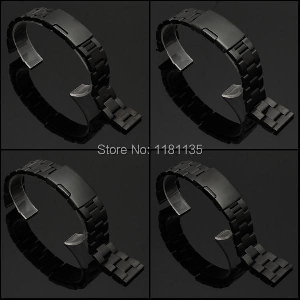 Бесплатная доставка 18 мм 20 мм 22 мм 24 мм пряжка черный из нержавеющей стали часы ремень прямой конец браслет