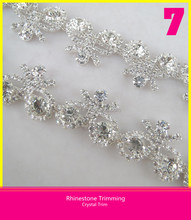 Rhinestone Strass Trimming Sew on Silver Plating Crystal Chain Inlay Ribbon Shape Diamond