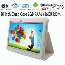 "10 "" Original 3G Phone Call Android Quad Core Tablet pc Android 4.4 2GB  16GB  WiFi FM GPS Bluetooth 2G+16G NiceTablets pc"