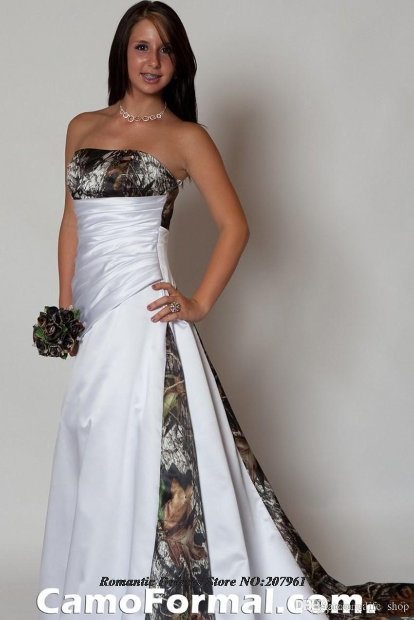 2016 Elegant Strapless Pink A Line Camo Wedding Dresses Removable Train Lace Up Bridal Gowns Camouflage - Camo Wedding Dress