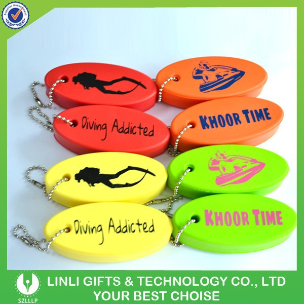 Promotional custom logo PU floating key chains