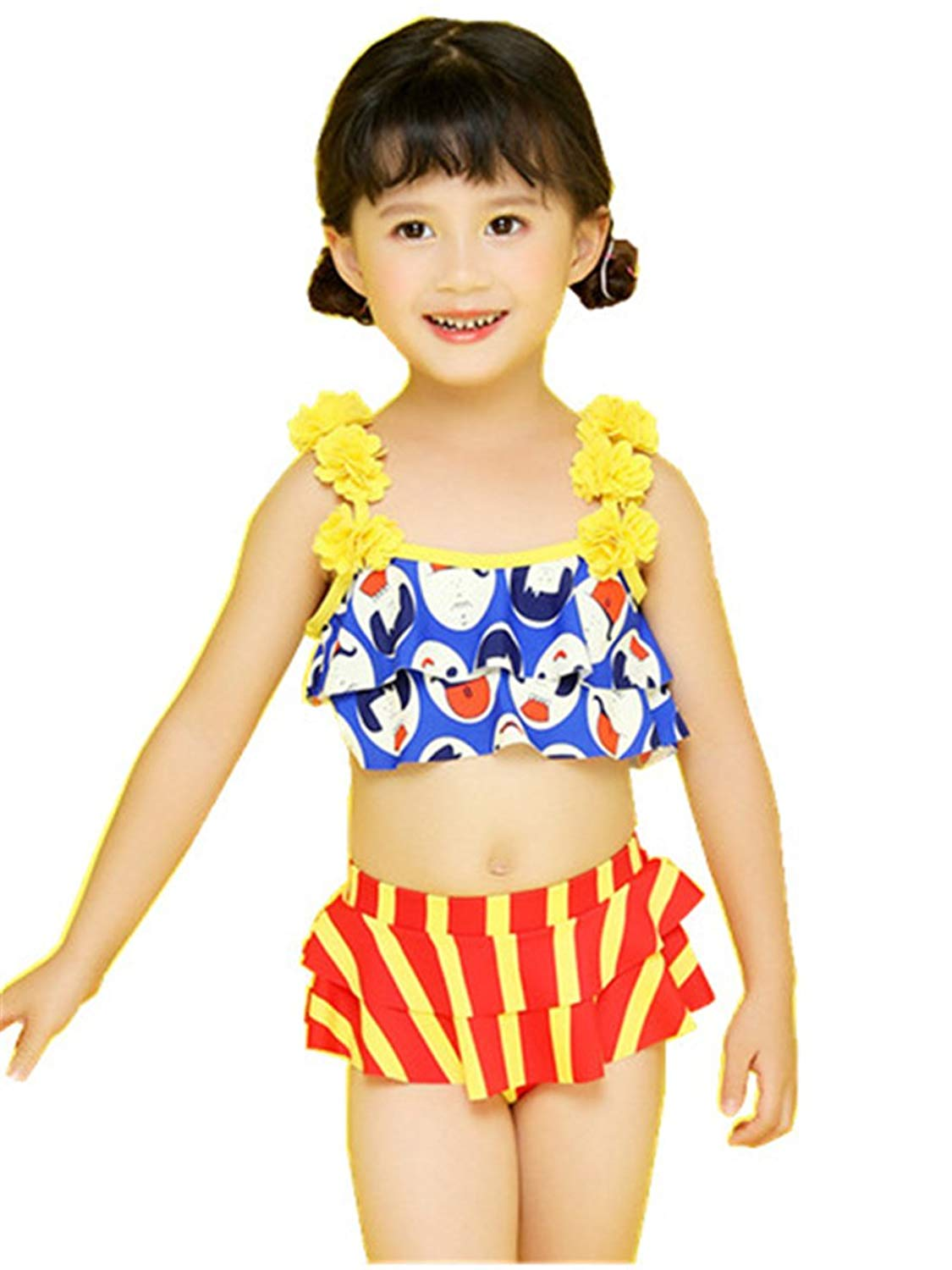 SFNLD InStar Girls Sweet Printed Falbala Mesh Halter Neck Two Pieces Swimwear With Skirt