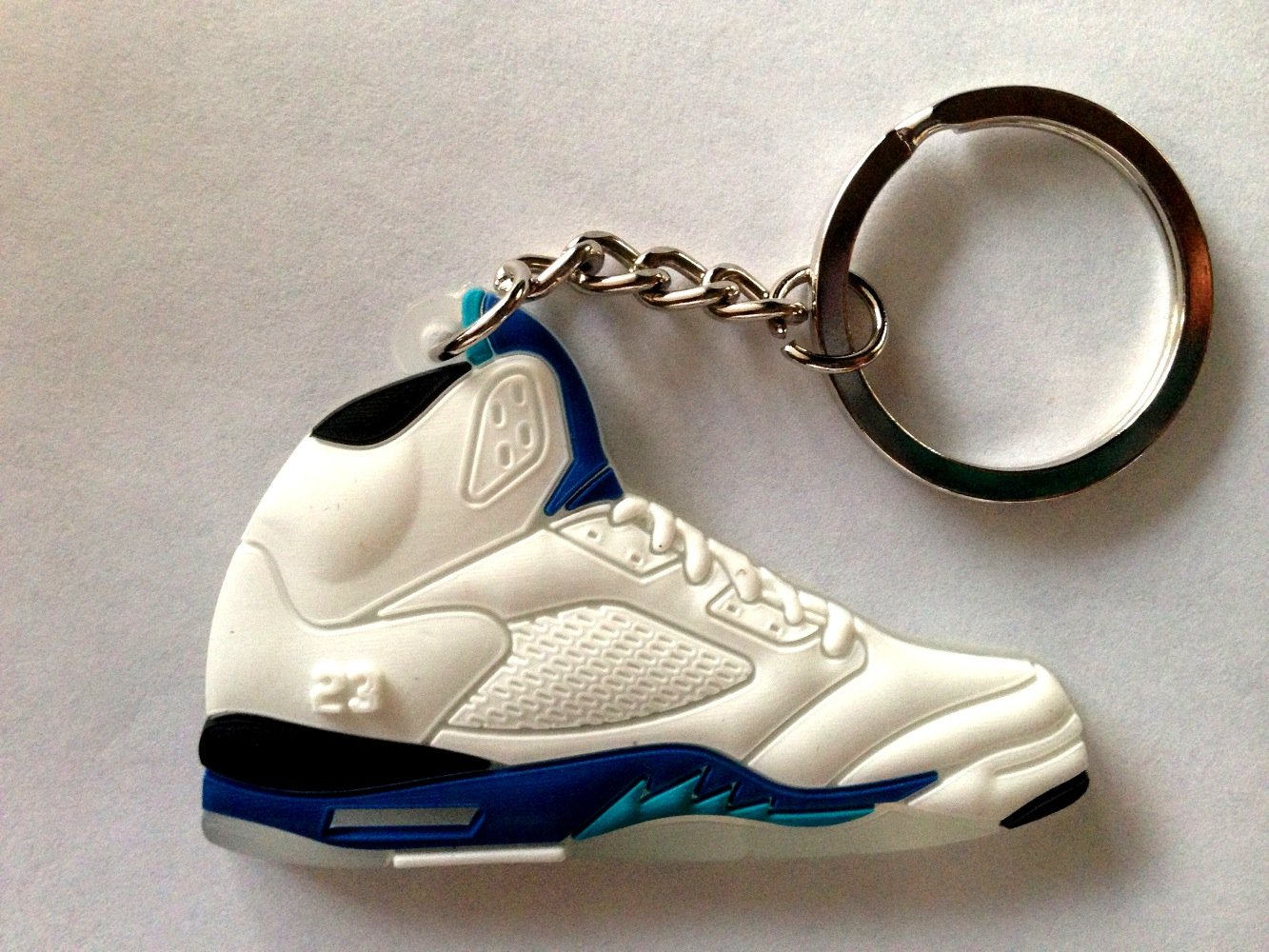3259a881a7e63a Get Quotations · Air Jordan V 5 White Royal Blue Stealth Grape Chicago  Bulls Sneakers Shoes Keychain Keyring