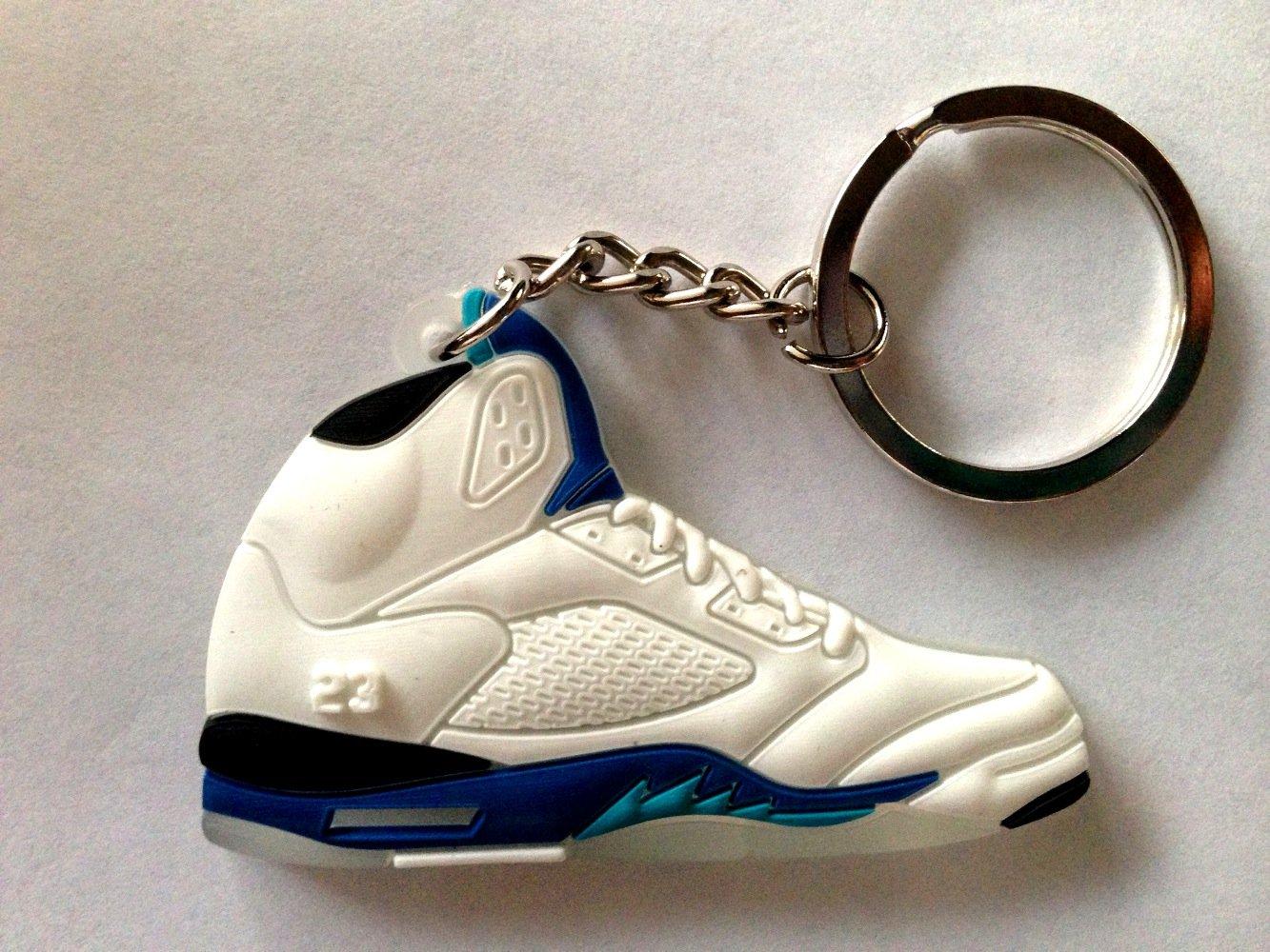 33832c2eb93381 Get Quotations · Air Jordan V 5 White Royal Blue Stealth Grape Chicago  Bulls Sneakers Shoes Keychain Keyring