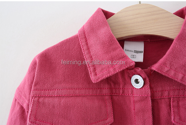 Kids Denim Jacket Autumn Girl Coat Corduroy Outfits Kids Pink and Yellow Overcoat