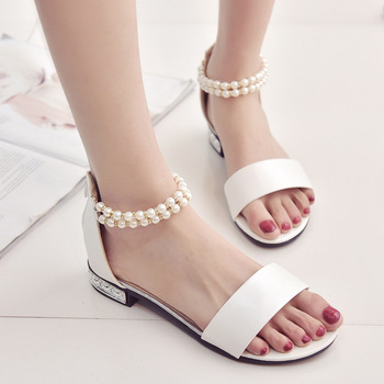 cd7ddfe683e B11222A Fashion lady summer sandals pearl beaded flat shoes women flat shoes