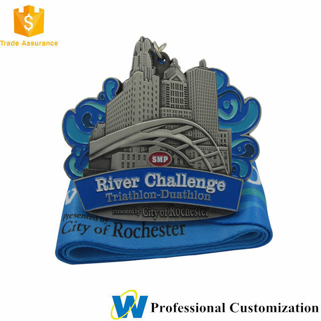 Manufacturer Design Your Own Blank 3d cut custom city cycle marathon running race medal