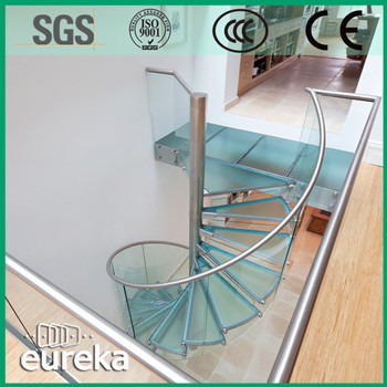 Modern Artificial Design Indoor Stainless Steel Glass Spiral Staircase