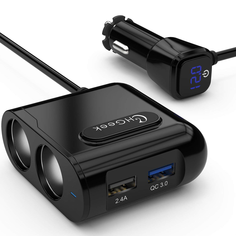 [Upgrade Version[ CHGeek Cigarette Lighter Adapter, 80W 12V/24V 2-Socket Power DC Outlet Splitter with Quick Charge 3.0 + 2.4A Smart USB Car Charger