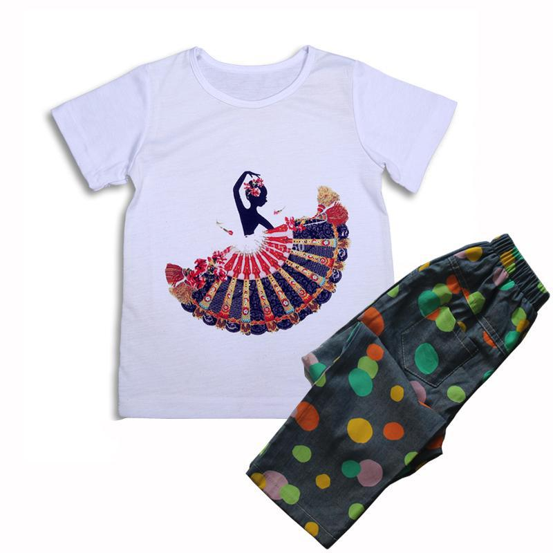 Floral kids clothes 2pieces girls clothing set summer style baby girl T shirt + long pants cartoon children casual sport suit
