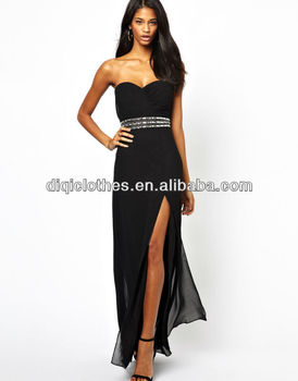 1186c37e507 Maxi dress black party strapless tight waist dress with high side split