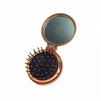 Hair ties detangle mini makeup foldable hair brush with mirror