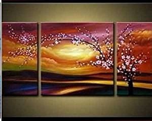 Ode-Rin Art Christmas Gift Hand Painted Oil Paintings Gift Flowers Tree 3 Panels Wood Inside Framed Hanging Wall Decoration - (10x20Inchx2, 20x20Inchx1)