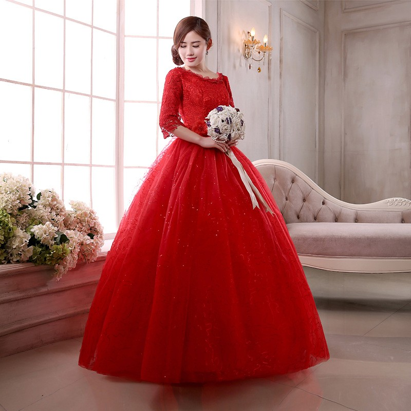 A Line Half Sleeve Performances Evening Dress Prom Red Ball Gown