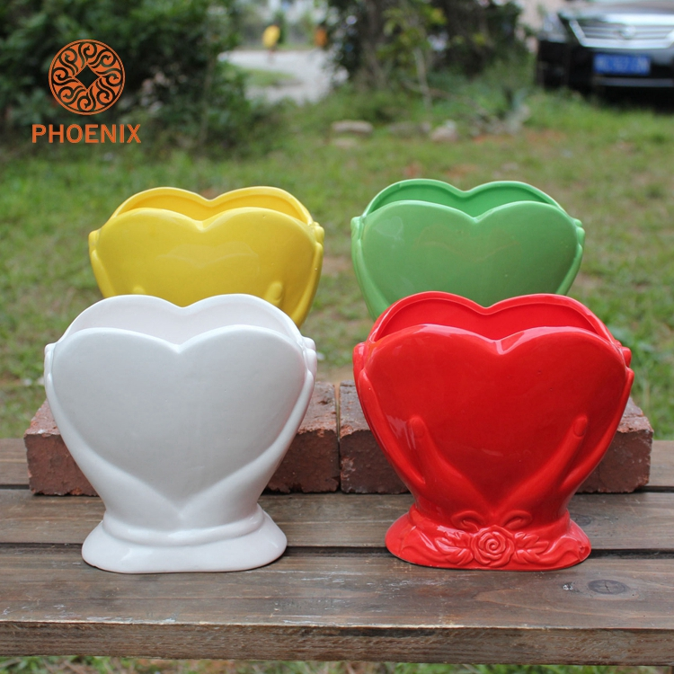 Zakka Heart Shape Tabletop Red Flower Pot