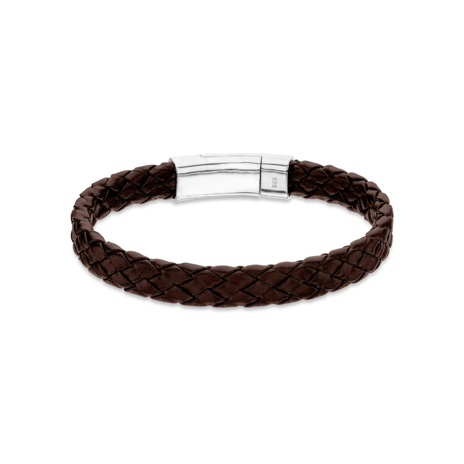 925 Sterling Silver Bracelet Magnetic Leather Chain Braided Brown bracelet