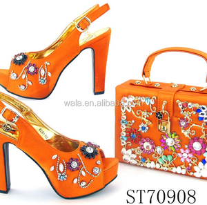 89693d2d176 ST70908 new wholesale italian 3 inch high heel matching african shoes and  bag set