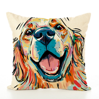 Wholesale Square Cotton/ Linen Cover Dog Printing Throw Pillow Case For Home