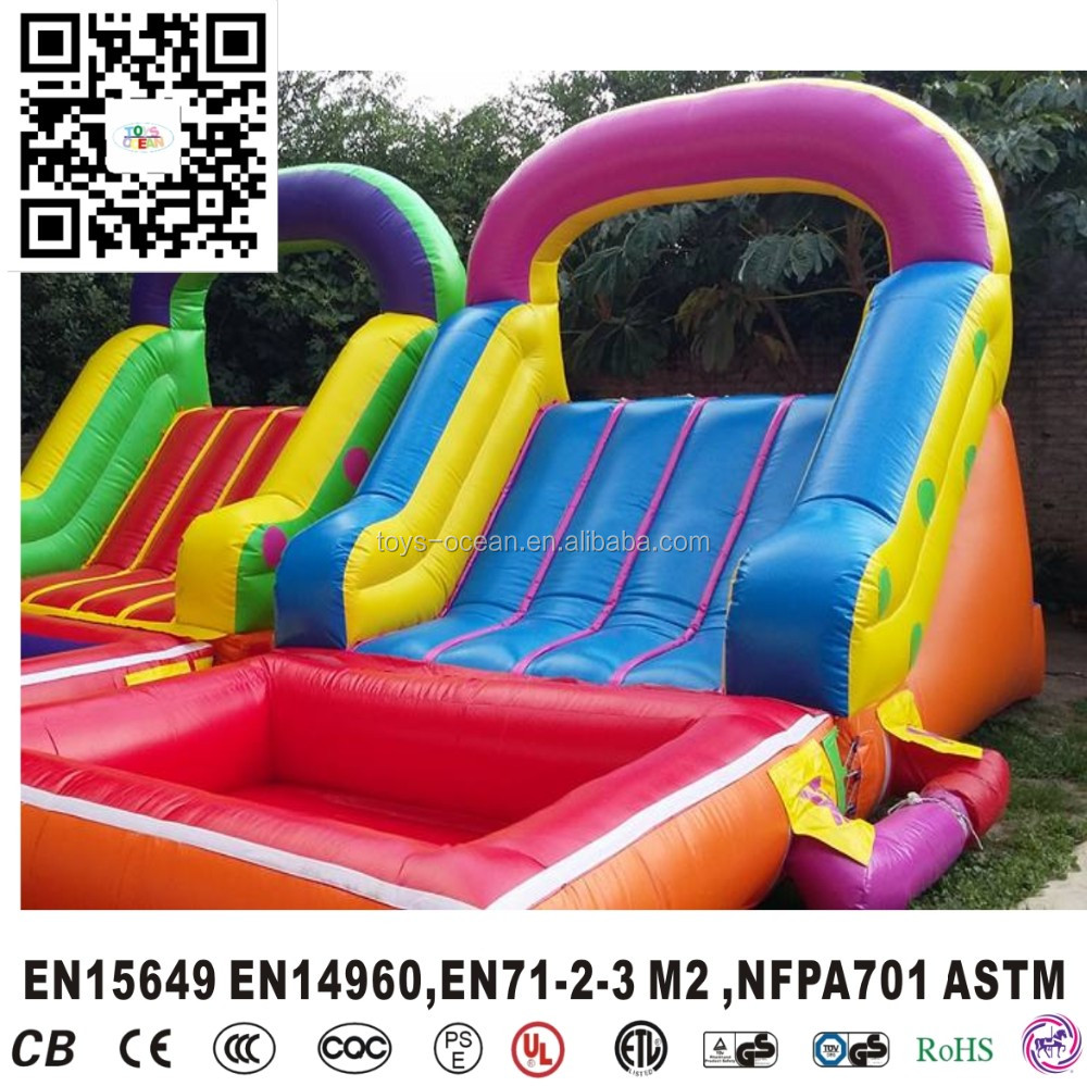 inflatable colourful slide with mini pool for backyard garden kids
