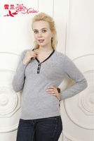 L-095 beautiful jacquard v neck pullover sweater for lady