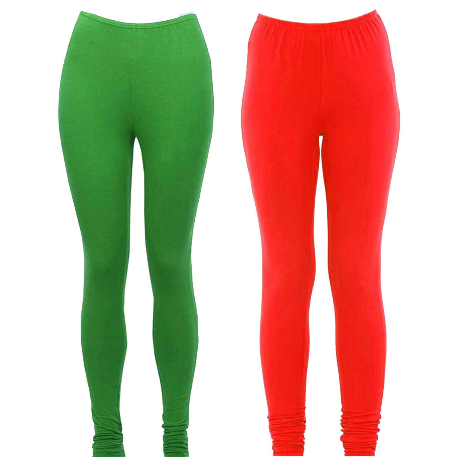 3687887a0cee1 Get Quotations · Designer Solid Lycra Fabric Full Length Soft Stretchable  Womens Green and Red Set of 2 Legging