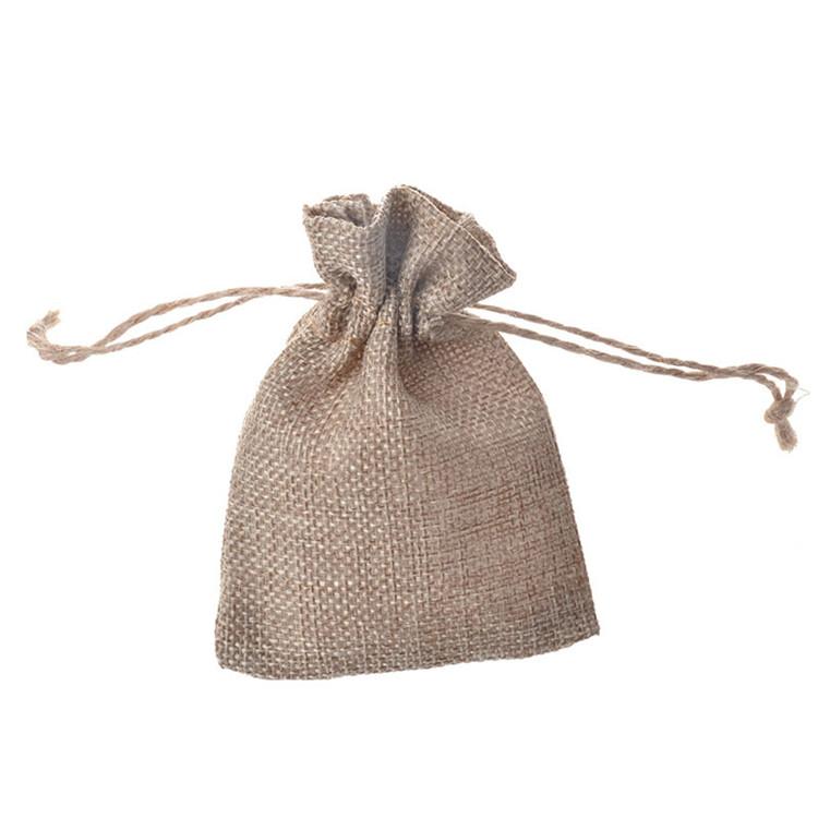 In Stock Custom Linen small jewelry storage jute drawstring bag