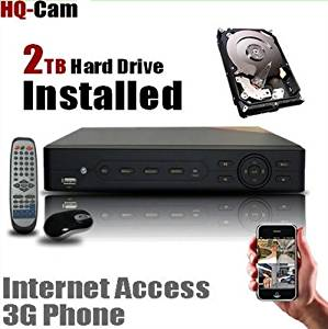 HQ-Cam 8 CH Channel H.264 Network Security Camera DVR with 2TB Hard Drive Pre-installed - Real Time 3G Mobile