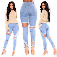 2019 Washed Ripped Light Blue Women Jeans Slim Denim Pants for Girls Comfy Stretch Skinny Jeans