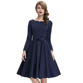 bf1ba0d6b37 Belle Poque Stock Solid Color Long Sleeve Navy Blue casual vintage clothing  dress BP000192-2