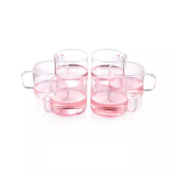 restaurant heat resistant borosilicate wide mouth coffee glass tea cup