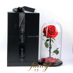 OEM Customized Size M Preserved Real Fresh Long Stem Glass Dome Roses Flowers in Glass Dome