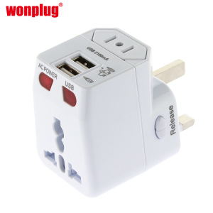 Wonplug High Quality World wide Fuse Travel Adaptor plugs for hair dryer with 2 USB Port