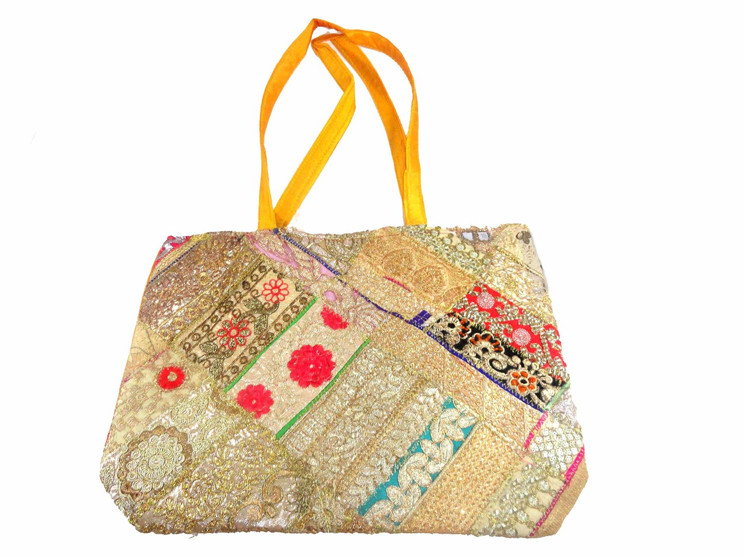 Lot of Three Gota Shoulder Bags with Sequins - Pure Cotton Exotic India zr8GrSP
