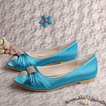 Aqua Blue Satin Bridal Shoes Flats With Rhinestone - Buy Aqua Blue ...