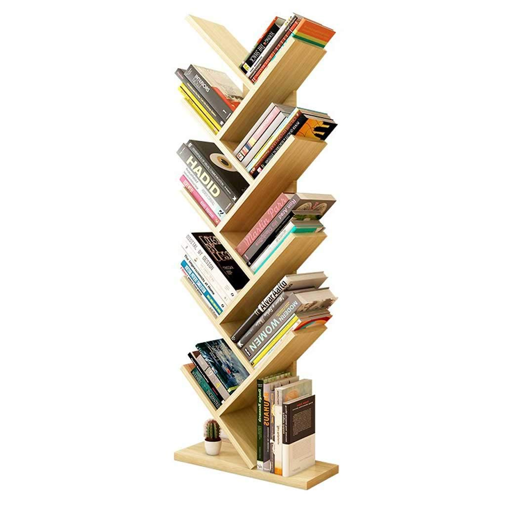 YUAN-magazine stand Bookshelf Tree Shaped Multipurpose Compact Bookcase Storage Movies & Books Shelves Simple Standing Home Office Rack