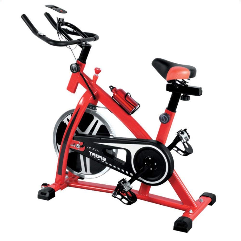 Cirocco Stationary Exercise Bike Bicycle Cycle - Home Cycling Fitness Gym w/Monitor | Indoor Cardio Workout |Track Heart Rate Calories Distance 440lbs Cap. Heavy Duty Convenient for Weight Loss Fit