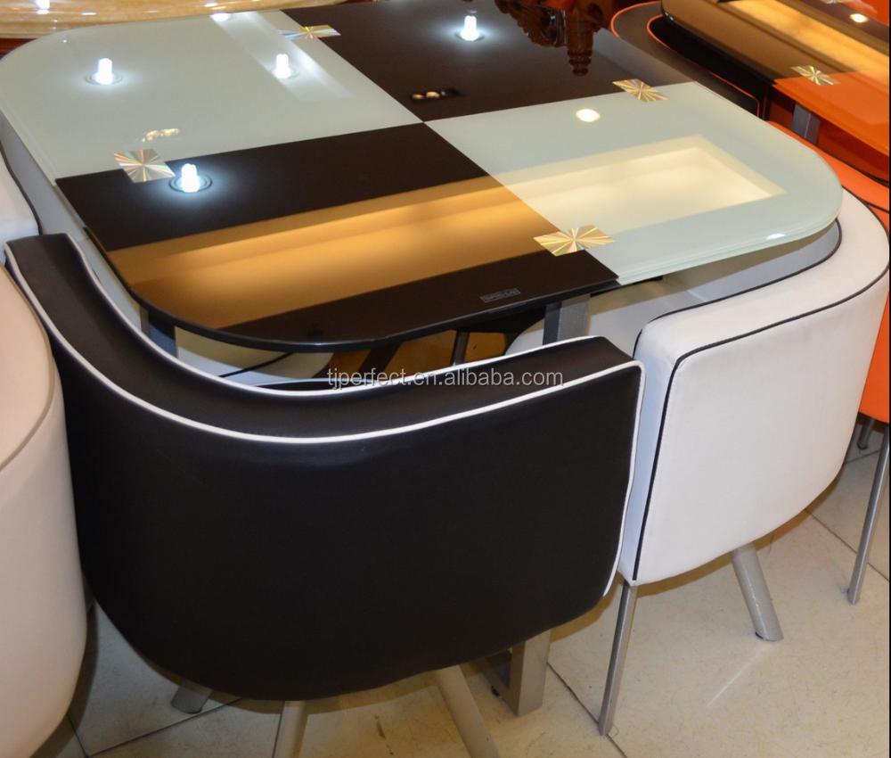 Barato y ahorro de espacio y vidrio templado conjunto mesa for Comedor ahorrador de espacio