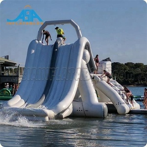 Large aqua fun park amusement inflatable floating slide / inflatable climbing water slide for sale