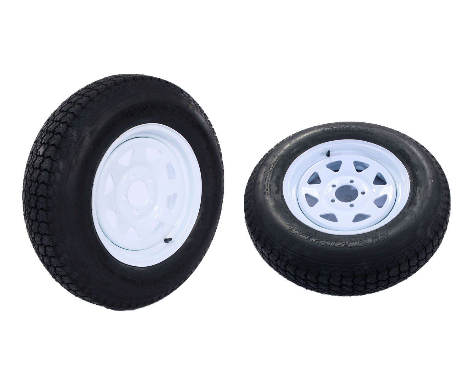 "2PCS 15"" White Spoke Trailer Tires & Rims ST205/75D15 Tire Mounted (5x4.5) Bolt Circle Trailer Wheel with Bias"