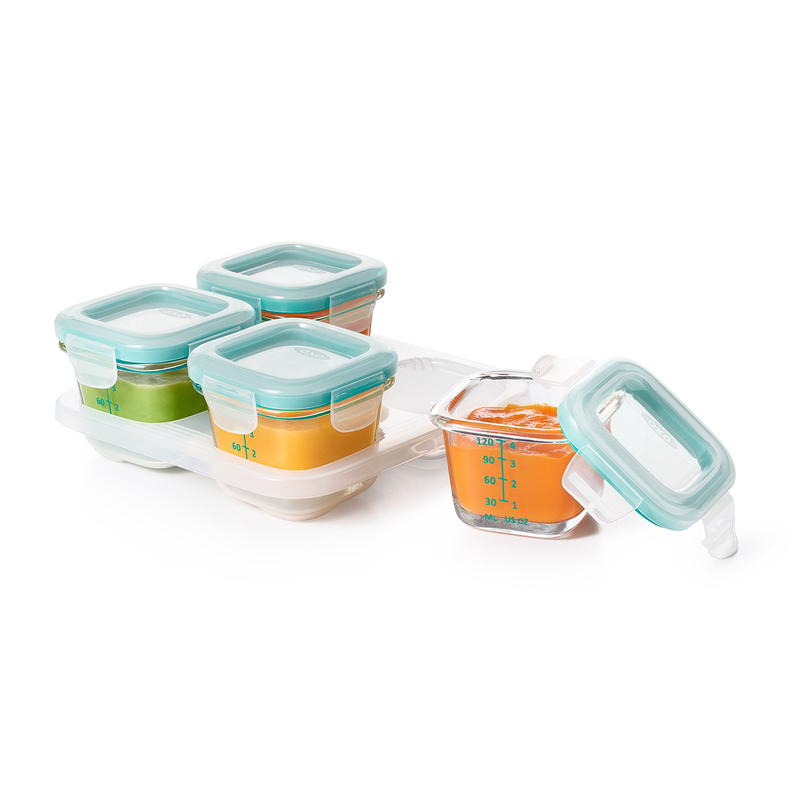 get quotations oxo tot glass baby blocks food storage containers teal 4 oz - Glass Blocks Lowes