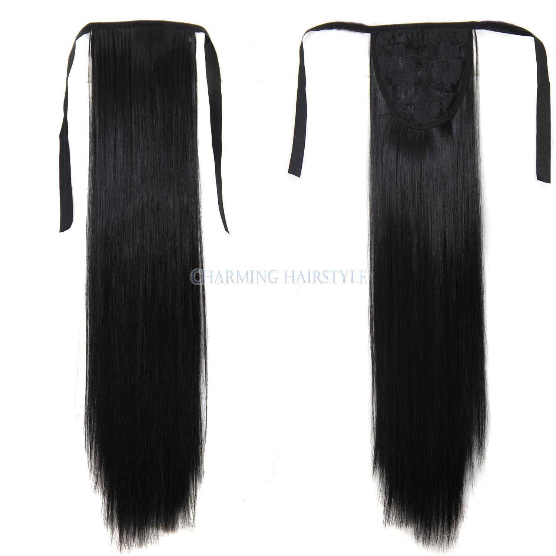 Длинные прямые синтетический хвост коса применить заколки в пони хвосты парики лента хвостики наращивание поддельные волосы кусок