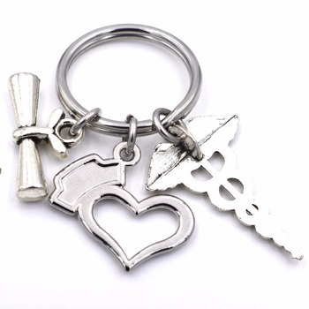 Graduation Jewelry Gifts for Women Men Nurses Keychain Medical Caduceus  Nurse Cap Charm Keyring d0b77013de