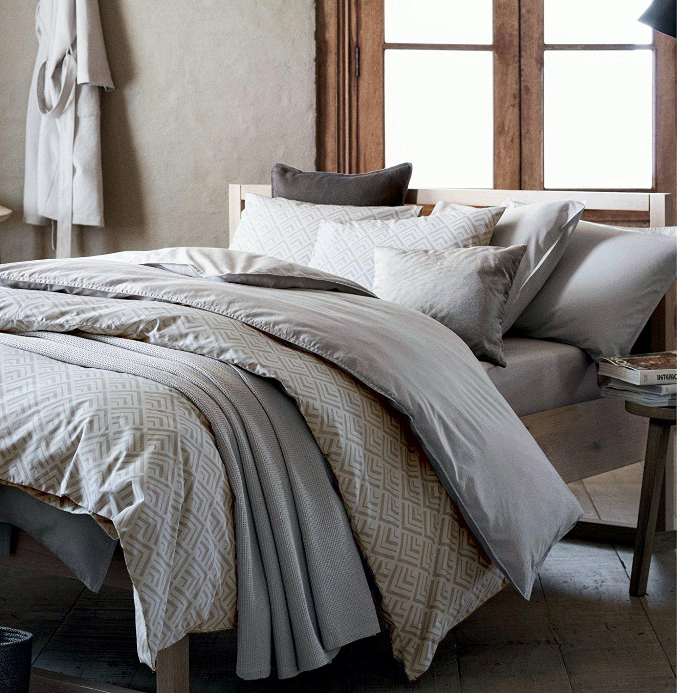 Mid century modern bedding geo print duvet quilt cover set light grey taupe geometric triangle elements