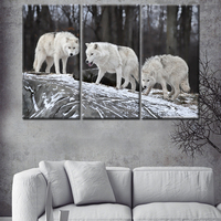 2018 new product 3 panel natural animal big elephant canvas printed painting