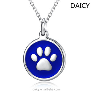 DAICY new fashion stainless seel colorful paw print tags pendant jewellery